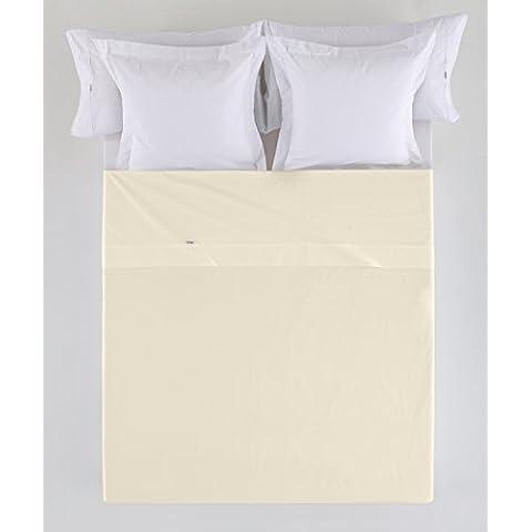 ES-TELA - Sábana encimera COMBI color Crema - Cama de 90 cm. - 50% Algodón / 50% Poliéster - 144