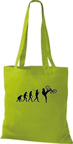 ShirtInStyle Stoffbeutel Jute Evolution Motorrad Fahrrad Biken Stunt Freebike Biker diverse Farbe lime green