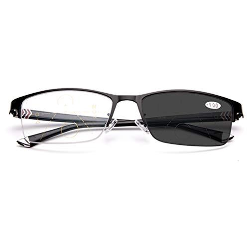 RXBFD Photochrom Progressive Multi-Focal Lesebrille, Federscharniere Gedächtnis-Metallmaterial Sonnenbrille, Ferne und nahe Dual-Use-Leser