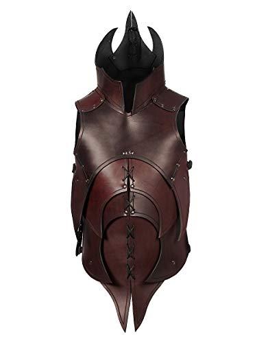 Kostüm Rüstung Ork - Andracor - Handgearbeitete dämonische Lederrüstung mit Klingenbrechern für alle furchteinflößenden Kreaturen - individuell einsetzbar für LARP; Fantasy, Mittelalter & Cosplay - Braun