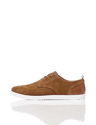 FIND Sneaker Herren Aus Kunstleder, mit profilierter Sohle, Braun (Tan), 43 EU (Schuhe Wildleder Casual Männer Für)