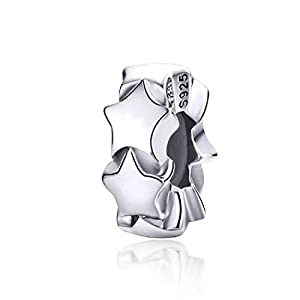 FeatherWish Distanzhalter für Pandora-Armband, 925 Sterlingsilber, platiniert, mit glänzenden Sternen