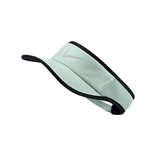 Nike Women`s NikeCourt Aerobill Adjustable Tennis Visor (Barely Grey(899654-006)/Black/Silver, One Size)