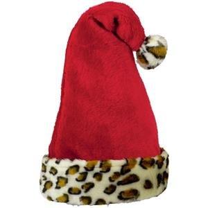 Animal Print Trim Santa Hat - Erwachsene Weihnachtsmütze - One Size