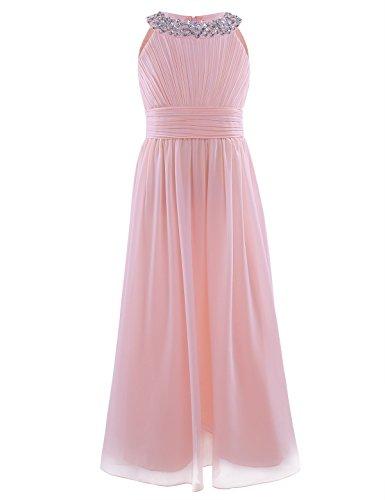 iiniim Mädchen Kleider Festlich Kleid Lange Brautjungfern Kleider Blumenmädchen Hochzeit Partykleid Festkleider Gr.104-164 Perle Rosa 164/14 Jahre