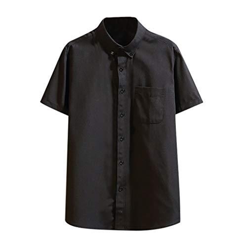 Herren-Hemden Kurze Ärmel-Hemd, Skxinn Kurze Ärmel-Shirts für Männer, Mode Sommer Herren Oberteile Tops mit Button,Casual T-Shirts Bluse S-4XL Ausverkauf(Schwarz,X-Large)