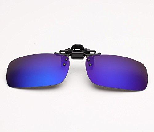 Zheino Large Mirror Coating Sonnenbrillen-Clip Polarisierende Flip Up, Sonnenbrillen-Clip für Brillenträger Autofahren Angel Reisen Outdoor-Sport (blau)