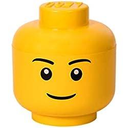 LEGO 40321724 Tête de rangement empilable Légo Garçon Grand modèle Plastique Jaune D24 x H27,1 cm