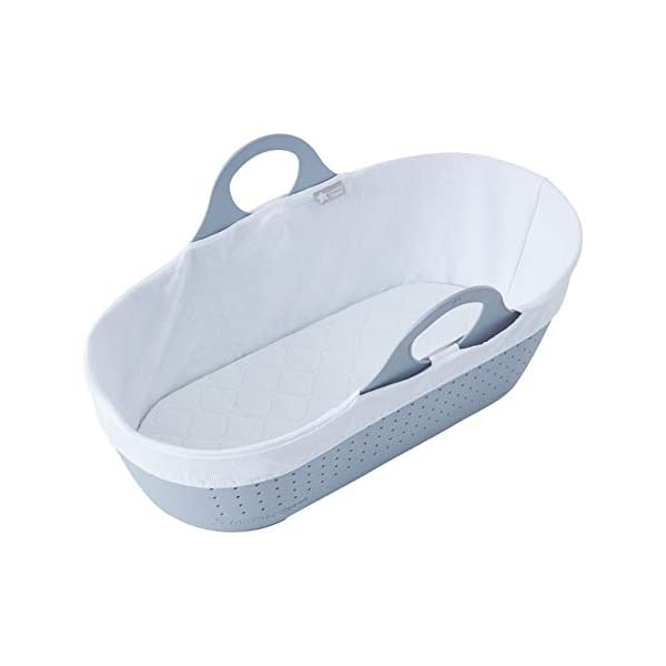 Tommee Tippee Sleepee Baby Moses Basket Grey Tommee Tippee Safe, modern, portable baby moses basket, perfect to keep your newborn baby nearby as they sleep, day or night. your sleepee moses basket comes complete with mattress and liner Easy to clean, the sleepee moses basket can be cleaned with warm soapy water. the water-resistant mattress cover is wipe clean and machine washable. the 100 % cotton liner is machine washable. Supported by safe sleep experts the lullaby trust, the sleepee moses basket has over 300 airholes along the side and base allowing max airflow to help regulate baby temperature and allow breathability 1