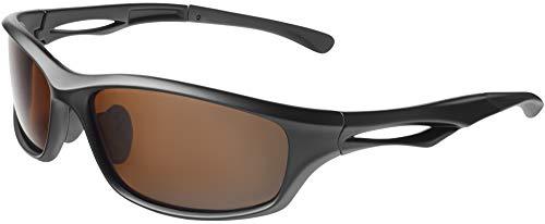 Balinco Polarisierte Sportbrille Sonnenbrille Fahrradbrille mit UV400 Schutz für Damen & Herren Autofahren Laufen Radfahren Angeln Golf (Matt Black - Brown)