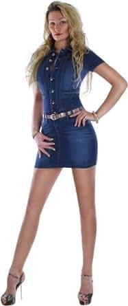 Jeanskleid Damen Minikleid mit kurzen Ärmeln und Ziertaschen vorne