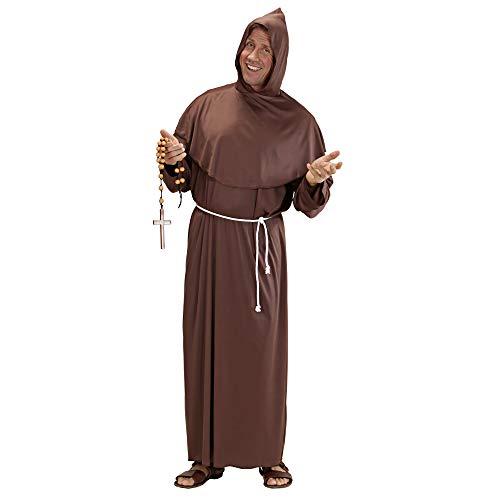 Widmann 3106A - Kostüm Mönch, Gewand mit Kapuze und Gürtel - Braune Mönch Robe Kostüm