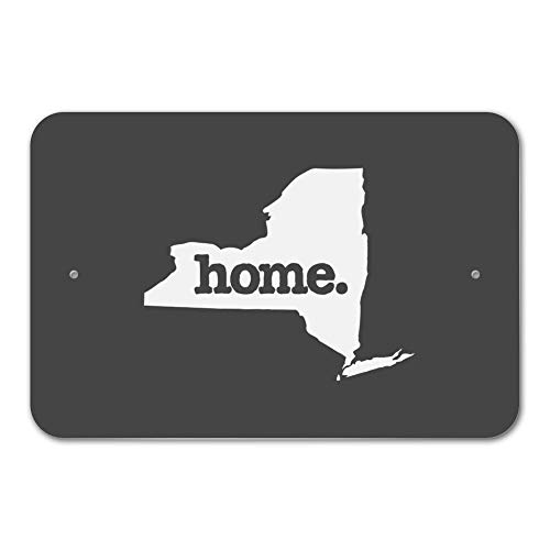 Dark-metal-finish (Co5675do Metal Sign 8x12 New York NY Home State Solid Dark Gray Home Business Office Sign)