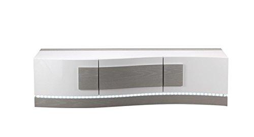 Meuble TV BLANC et GRIS avec LED - mobilier 3 portes - design moderne - Qualité Premium- BELUGA