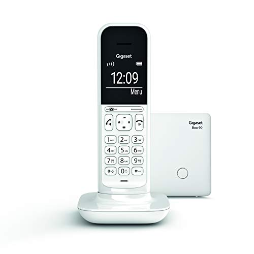Oferta de Gigaset CL390 - Teléfono fijo inalámbrico para casa, pantalla iluminada, agenda 150 contactos, blanco