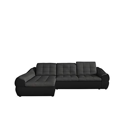 Ecksofa Infinity Mini, Einstellbare Kopfstützen, Eckcouch mit Schlaffunktion und Bettkasten, Schwerentflammbar Stoff, Moderne L-Form Couch für Wohnzimmer, Wohnlandschaft (Madryt 1100 + Inari 96, Seite: Links)