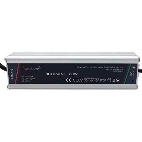 iluminize LED-Netzteil, hochwertig & leistungsstark, aus Aluminium, 60 Watt, 12V, IP67, mit Netzstecker 230V und 12V Stecker (60W 12V mit Stecker)