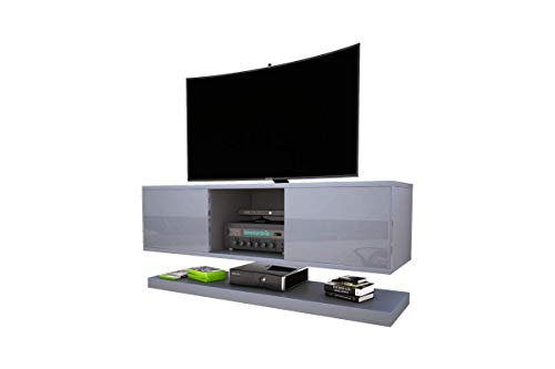 Selsey Wizz - Meuble TV Moderne Gris, 140 cm