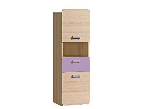 Bücherregal Limo mit 2 Türen und 1 Schublade Esche Natur/Violett 2 Tür Bücherregal