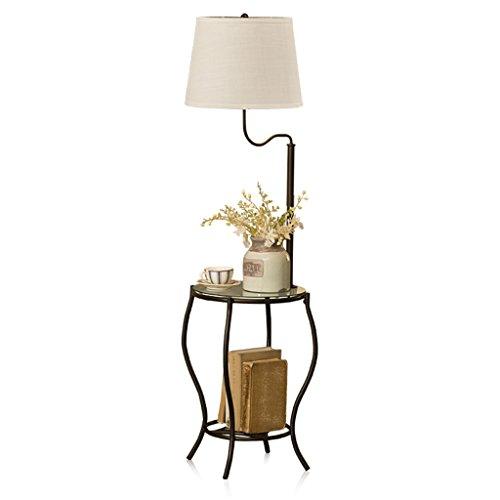 Leuchtstofflampen Stehleuchte (SMQ Idyllische Retro-Stil Leuchtstofflampe Schmiedeeisen Stehleuchte mit Couchtisch Wohnzimmer Schlafzimmer Studie Tischlampe)