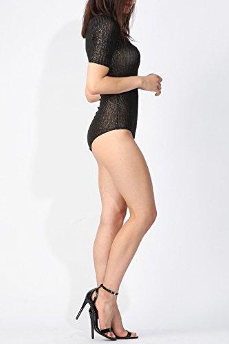 Ladies Metallic côtelé Body manches courtes EUR Taille 36-42 Noir
