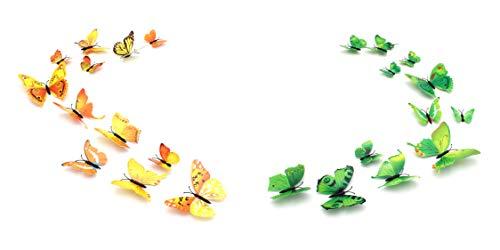 3D Schmetterlinge Magnetisch inklusive Aufkleber Wandtatoo Wandsticker 2 Flügel Wanddekorationen Dekorationen für ganze Haus Butterfly Grün und Gelb (SF4+SF5)