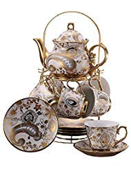 13 Piece European Titanium Gold Tea Set,Vintage Ceramic Tea Set Service Coffee Set,Metal Texture Golden Flowers,For Household