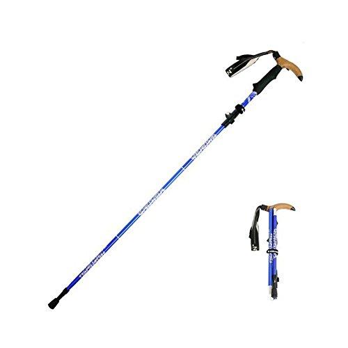KORAMAN ZUSAMMENKLAPPBAR auf 28cm NORDIC-WALKING Trekkingstock Wanderstock Gehstock – ultraleicht, Handgelenkschlaufe größenverstellbar, ergonomischer EVA Griff schweißabsorbierend, Fitness Bergsteigen Wandertouren -1514T (Blau) (Diamond Black Stein)