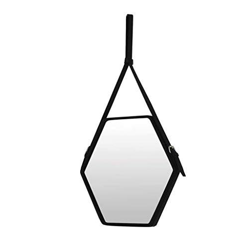 LXYPLM Wandspiegel Spiegel Badezimmer-Wand-hängende Spiegel-dekorativer schwarzer Rahmen-sechseckiger Spiegel-Faux-Leder-Rand (Size : 54 * 47cm) - Faux Leder-rahmen