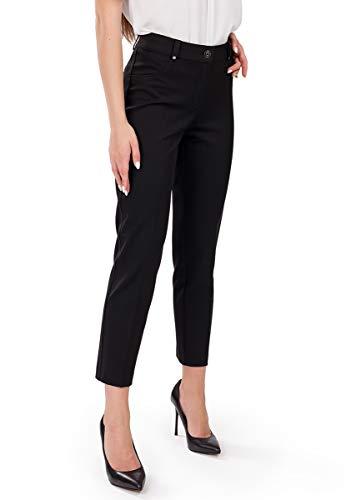 Femme Premium Schwarze Damen-Hose Perfekt für Herbst Frühling Büro und Freizeit passt zu Bluse klassischen Hemden und Blazer in 7/8-Länge - DE 38 - M - (W28)