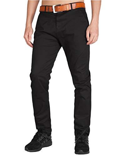 ITALY MORN Pantalon Chinos Hombre Negros Rectos Skinny Fit para Trabajo 38 Negro
