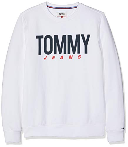 Hilfiger Denim Herren TJM Essential Logo Crew Sweatshirt, Weiß (Classic White 100), Medium (Herstellergröße: M) Denim Fleece-sweatshirt