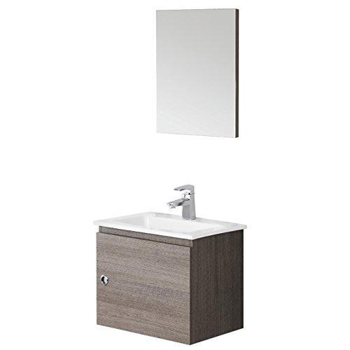 Composizione mobile pensile bagno consolle ceramica specchio pannello 606054