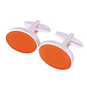 Lack Manschettenknöpfe orange silbern oval 15/20 mm + Silberbox