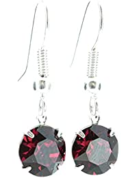 pewterhooter drop earrings made with sparkling Ruby red crystal from SWAROVSKI®. London box.