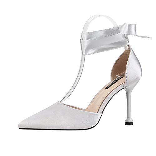 YAN Women es High Heels 2019 New Satin Fashion Pointed Pumps Sandals Nightclub Sexy Bow Stiletto Schuhe Red Black Gray Pink,Gray,37 Bow Stiletto