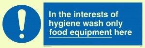 """Viking Schilder mh210-l31-p """"Im Interesse der Hygiene Waschen nur Food Equipment hier"""" Zeichen, halbstarr Foto Leuchtziffern Kunststoff, 100mm x 300mm"""