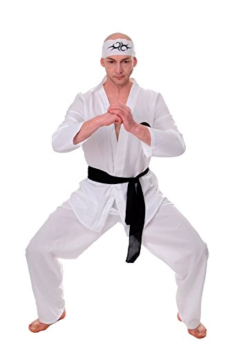 Für Erwachsene Kid Karate Kostüme (DRESS ME UP - Kostüm Herren 80er Karate Ninja Kungfu Actiontrash Gr. S / M)