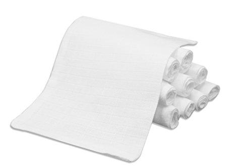 """ZOLLNER® 10er-Set Waschlappen/ Waschhandschuhe / Babywaschlappen / Babytücher ca. 17x22 cm aus 100% Baumwolle, Farbe weiß, schadstoffgeprüft Öko-Tex zertifiziert, Serie """"Kiel-WH"""""""