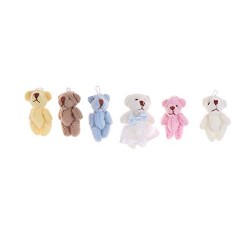 Baoblaze 7pcs Mini Niedliche Bär Plüschtier Kuscheltier Spielzeug Für 18'' American Girl Puppen Zubehör