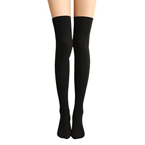 Feste Hohe Baumwolle, Oberschenkel Socken (Socken Damen, YunYoud Frau Oberschenkel hoch Socken Frauen Mode Lange Baumwollstrümpfe Reizvoller Overknee Strümpfe Einfarbig Strümpfe (20*50CM, Schwarz))