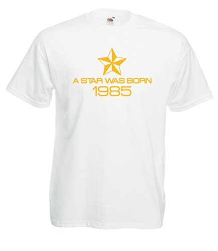 Settantallora - T-shirt Maglietta J1571 Nata Una Stella Nel 1985 Bianco