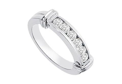 Channel set Diamond Semi Eternity Wedding Band 14K White Gold 0.25 CT Diamonds