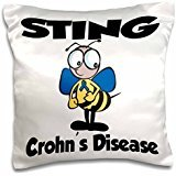 - Bee Sting Crohns Disease (blue) Cause Design - 16x16 inch Pillow Case