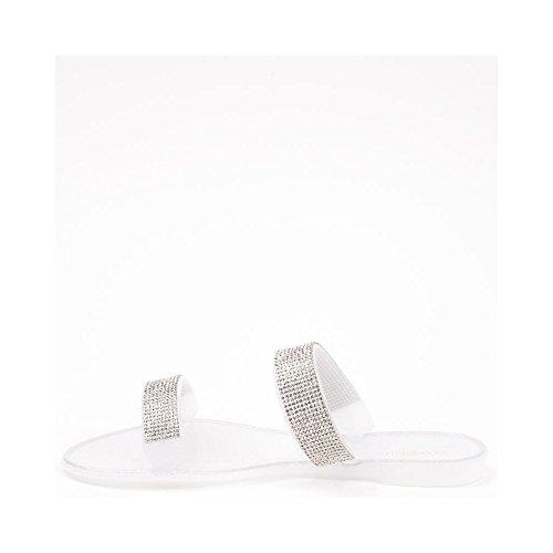 Ideal Shoes Sandales Plates en Plastique avec Lanières Incrustées de Strass roselia Blanc