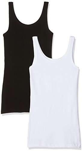 ONLY Damen Onllive Love New Long Tank 2PK NOOS Top, Mehrfarbig (Black Pack:Black and White), 38 (Herstellergröße: M) (2erPack)