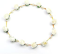 Sanjog Flower And Pearl Tiara For Girls/Women For Wedding/Party