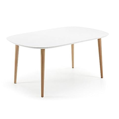 Kavehome Table Oqui extensible ovale 160-260 cm, naturel et