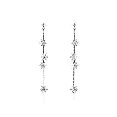 Orecchini s925 argento sterling selvaggio lucido orecchini giapponesi e coreani orecchini cristallo nappa zircone foglia tendenza orecchini lunghi femminili
