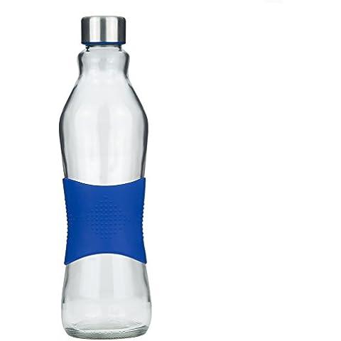 Botella de vidrio para beber/ para nevera sin BPA de 1.0L con agarre antideslizante de silicona color AZUL - 100% reciclable